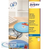 Avery CD/DVD Labels Inkjet 2 per Sheet Dia.117mm QuickDRY Ref J8676-25 [50 Labels]