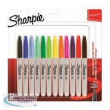 Sharpie Permanent Marker Fine Tip 0.9mm Assorted Ref 2065404 [Pack 12]