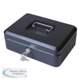 Cash Box with Lock & 2 Keys Removable Coin Tray 10 Inch W250xD180xH70mm Black