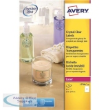 Avery Crystal Clear Labels Laser 1 per Sheet 210x297mm Transparent Ref L7784-25 [25 Labels]