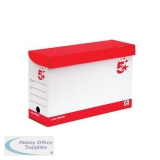 5 Star Office Transfer Case Hinged Lid Foolscap Red and White [Pack 20]