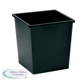 5 Star Facilities Waste Bin Square Metal Scratch Resistant 27 Litre Capacity 325x325x350mm Black