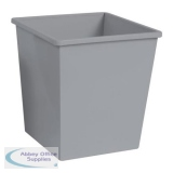 5 Star Facilities Waste Bin Square Metal Scratch Resistant W325xD325xH350mm 27 Litres Silver Metallic