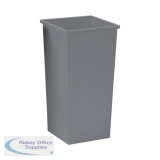5 Star Facilities Waste Bin Square Metal Scratch-resistant W325xD325xH642mm 48 Litres Silver Metallic