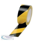 5 Star Office Hazard Tape Soft PVC Internal Use Adhesive 50mmx33m Black and Yellow [Pack 6]