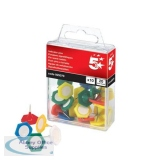 5 Star Office Indicator Pins 20mm Head Assorted [Pack 10]