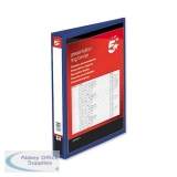 5 Star Office Presentation Ring Binder Polypropylene 4 D-Ring 38mm Size A4 Blue [Pack 10]