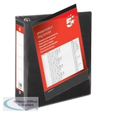 5 Star Office Presentation Ring Binder PVC 4 D-Ring 65mm Size A4 Black [Pack 10]