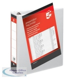 5 Star Office Presentation Ring Binder PVC 4 D-Ring 65mm Size A4 White [Pack 10]