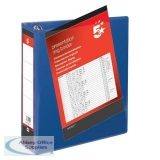 5 Star Office Presentation Ring Binder PVC 4 D-Ring 65mm Size A4 Blue [Pack 10]