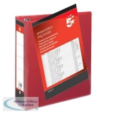 5 Star Office Presentation Ring Binder PVC 4 D-Ring 65mm Size A4 Red [Pack 10]