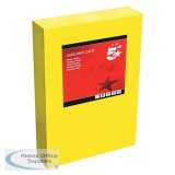 5 Star Office Coloured Card Multifunctional 160gsm A4 Deep Yellow [250 sheets]