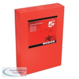 5 Star Office Coloured Card Multifunctional 160gsm A4 Deep Red [250 sheets]