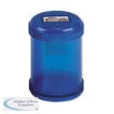 5 Star Office Pencil Sharpener Plastic Canister Two Hole Max. Diameter 8/11mm Blue [Pack 10]