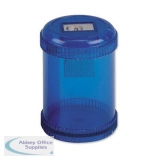 5 Star Office Pencil Sharpener Plastic Canister One Hole Max. Diameter 8mm Blue [Pack 10]