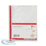 5 Star Office Punched Pocket Polypropylene Reinforced Red Strip Side-opening 75 Micron A4 Clear [Pack 25]