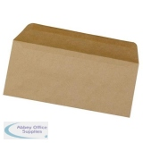 5 Star Office Envelopes FSC Wallet Recycled Lightweight Gummed 75gsm DL 220x110mm Manilla [Pack 1000]