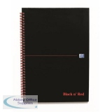 Black n Red Notebook Wirebound 90gsm 5mm Square Perforated 140pp A4 Glossy Black Ref 100080201 [Pack 5]