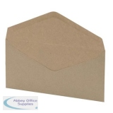 5 Star Office Envelopes Recycled Wallet Gummed Window 75gsm DL 110x220mm Manilla [Pack 1000]