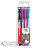 Stabilo Sensor Bright Assorted Fineliner Pens (4 Pack) 189/4-2