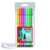 Stabilo 68 Felt Tip Pen Wallet Assorted Pastel (10 Pack) 68/8-01