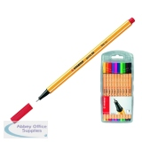 Stabilo Point 88 Fineliner Red Pen (10 Pack) With FOC Assorted Pk10 Pens SS811637