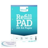 Silvine Narrow Feint Ruled Headbound Refill Pad 160 Pages A4 (6 Pack) A4RPNM