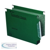 Rexel Crystalfile Classic 30mm Lateral File 500 Sheet Green (25 Pack) 70672