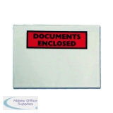 Documents Enclosed Self-Adhesive DL Document Envelopes (100 Pack) 9743DLDE01