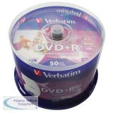 Verbatim DVD+R 16X Wide Inkjet Printable Spindle Pack of 50 43651