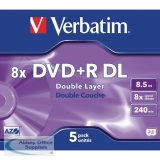Verbatim DVD+R 8X Double Layer Non-Printable Pack of 5 43541